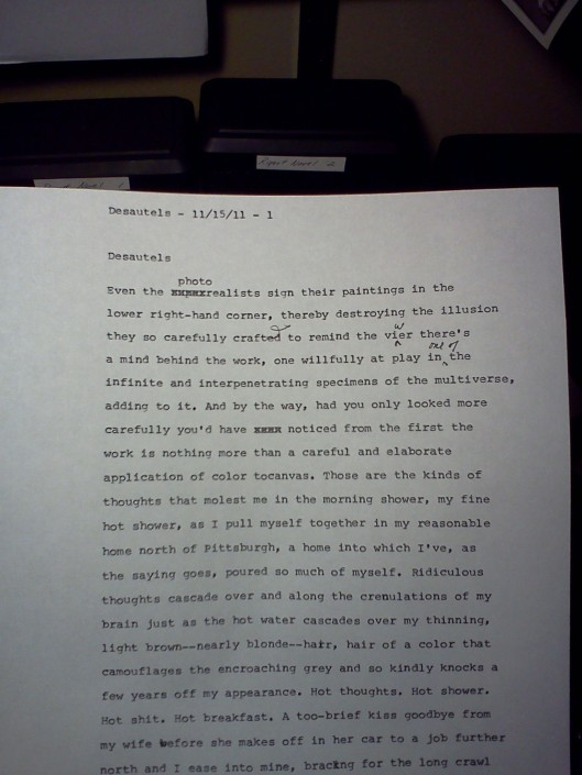 First-draft manuscript page from Desautels chapter of Housebreaking the Muse
